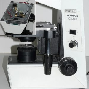 Olympus CX40 microscope with Nanodyne replacement illuminator